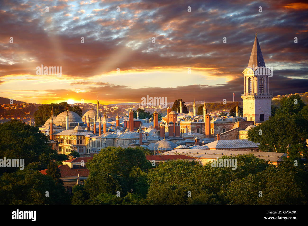 The Sultans Topkapi Palace at sunset, Istanbul, Turkey - Stock Image