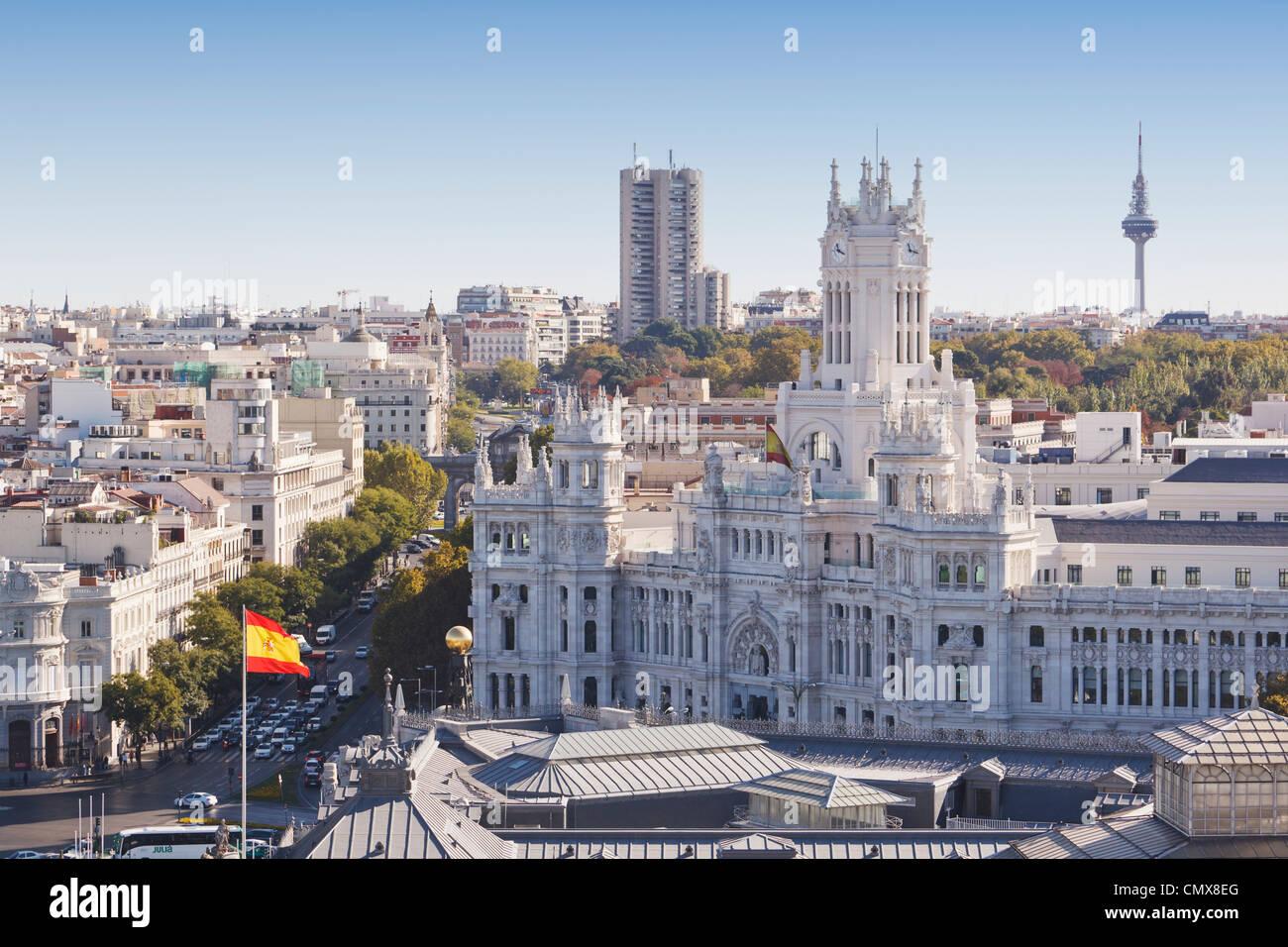Madrid, Spain. Cibeles Palace in Plaza de Cibeles. - Stock Image