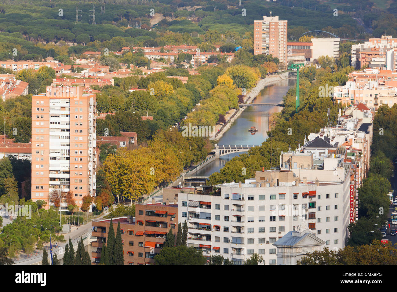 Madrid, Spain. Apartment blocks in western area of the city. Manzanares river. Parklands. - Stock Image
