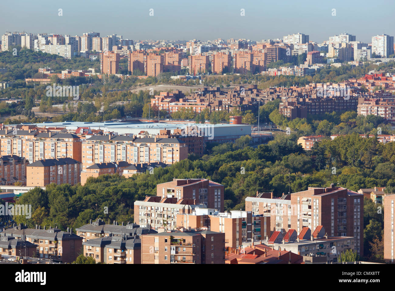 Madrid, Spain. Apartment blocks in western area of the city. - Stock Image