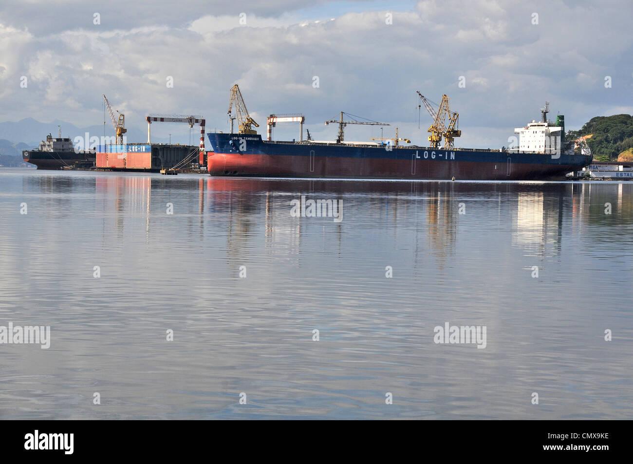 Ship during construction works in a shipyard Estaleiro Ilha EISA Ilha do Governador Rio Brazil - Stock Image