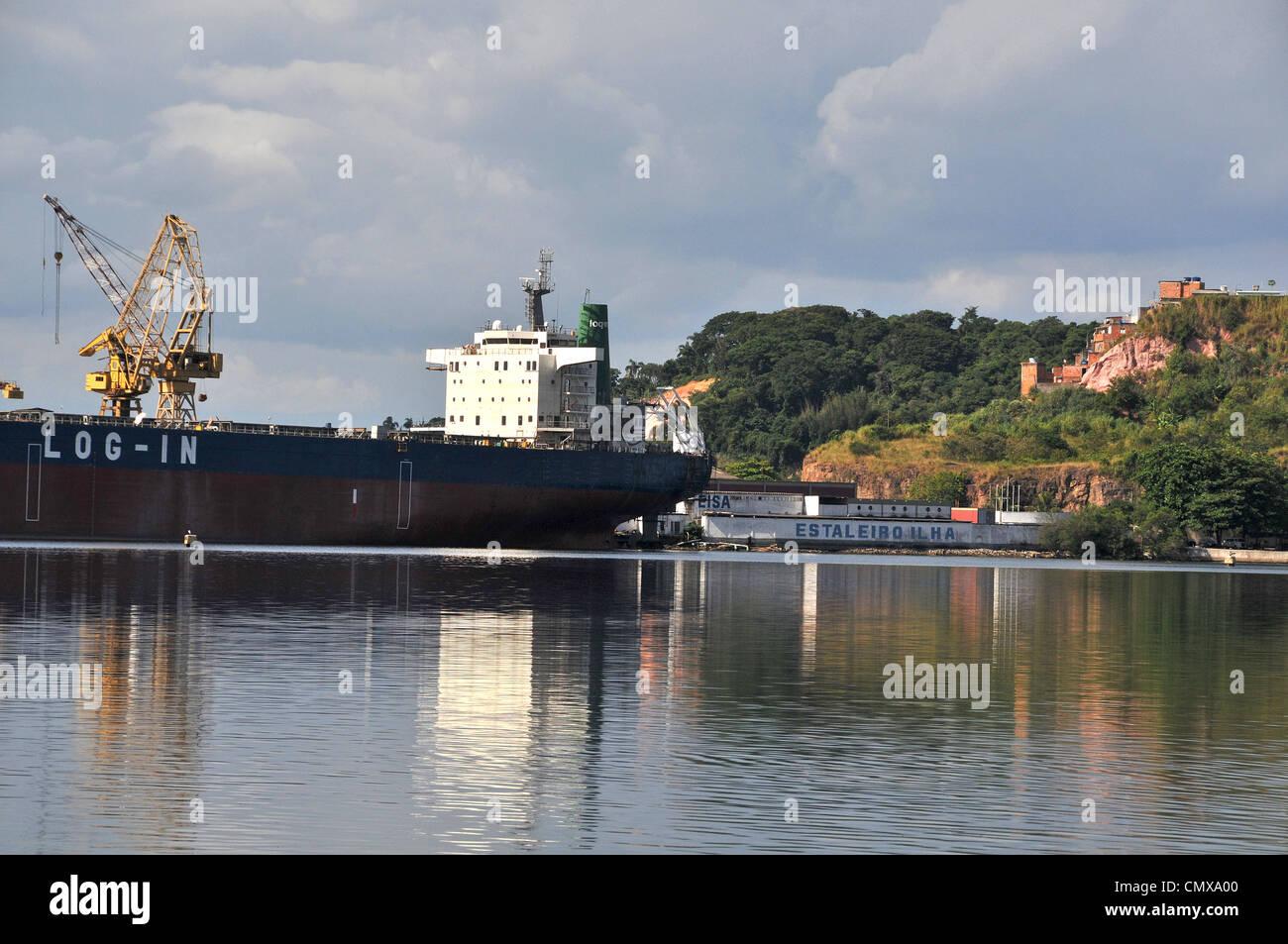 Ship during construction works in a shipyard Estaleiro Ilha EISA, Ilha do Governador, Rio,  Brazil - Stock Image
