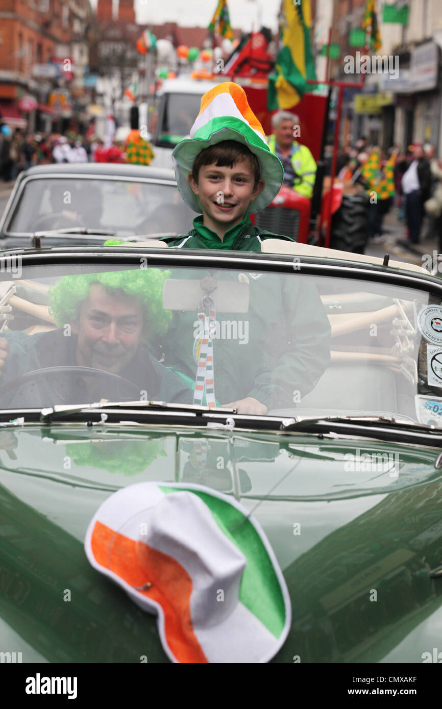 ST. Patrick's Day celebrations on Willesden High Road, London - Stock Image