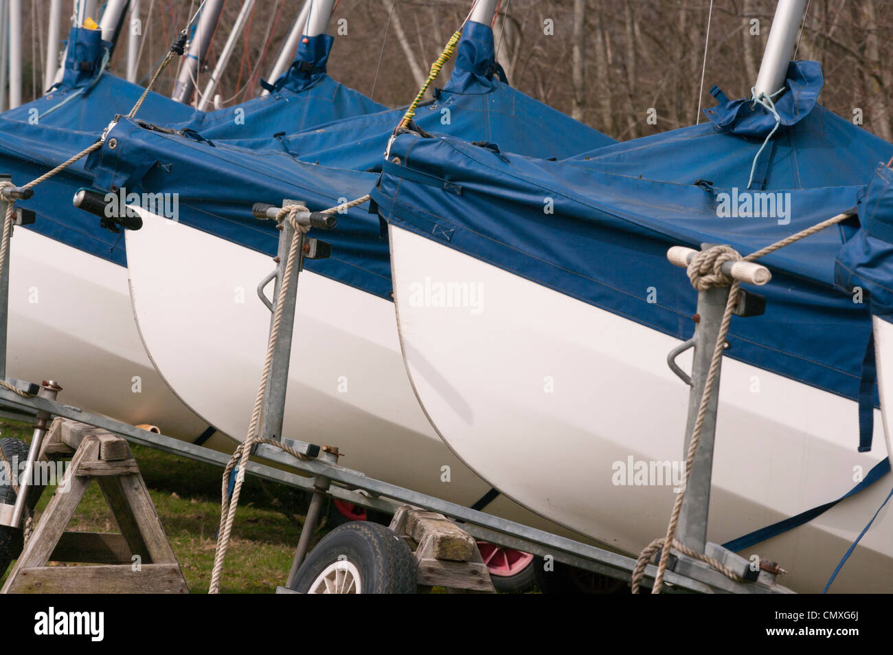 Front Bows Of Sailing Dinghies - Stock Image
