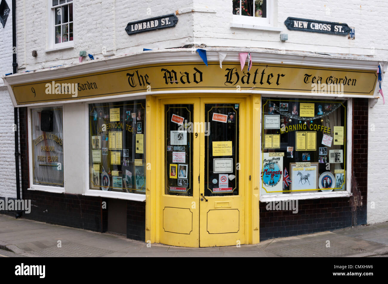 The Mad Hatter Tea Garden on the corner of Lombard Street and New Cross Street in Margate, Kent. - Stock Image