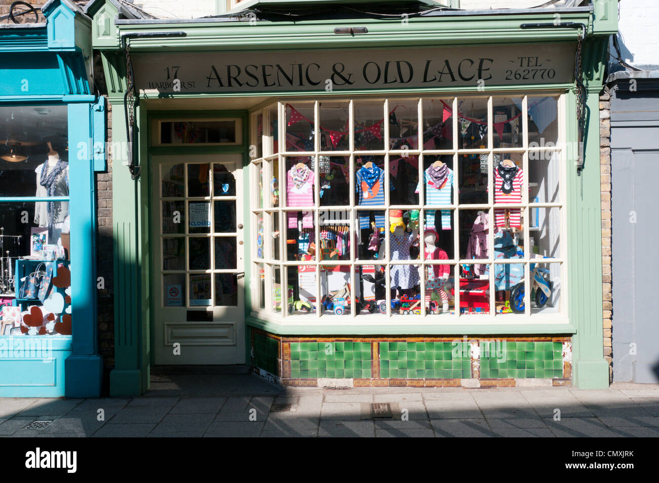 The Arsenic & Old Lace children's clothing shop in Whitstable, Kent. - Stock Image