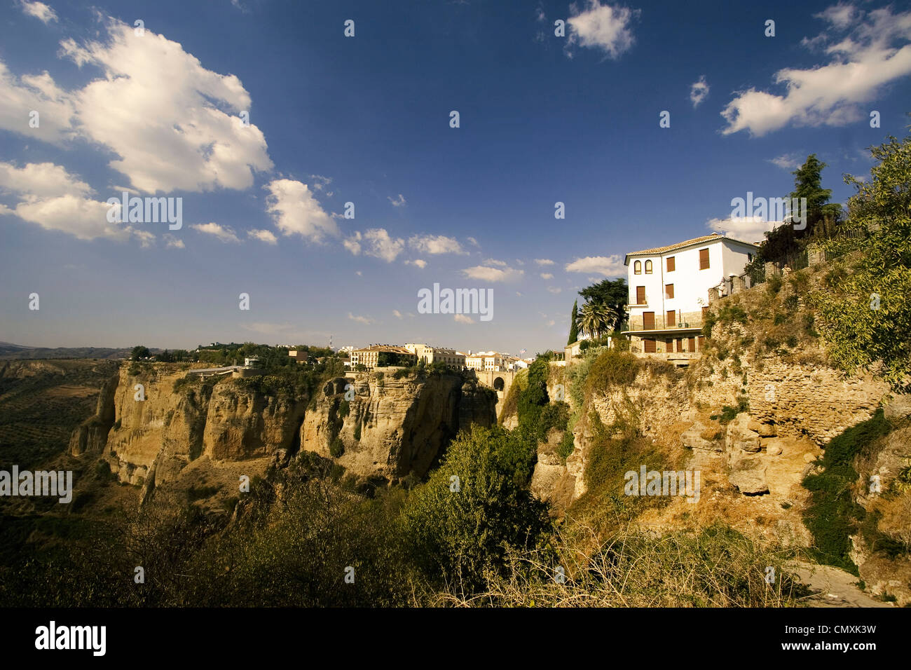 Spain Andalucia, Ronda, Puente Nuevo spanning the gorge of the Rio Guadalevin - Stock Image