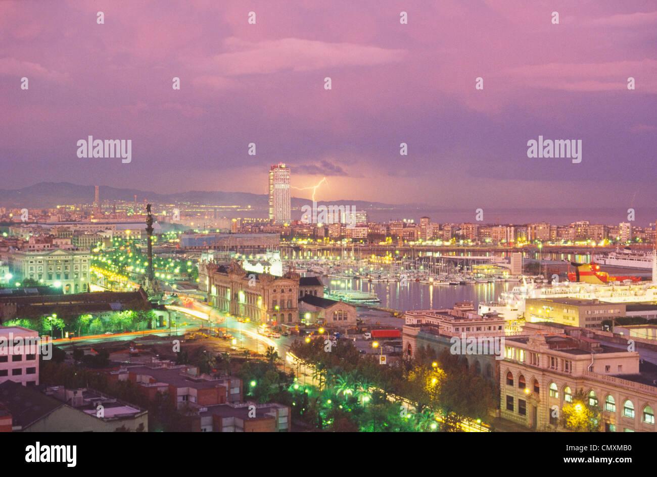 Thunderstorm over Barcelona, Spain - Stock Image