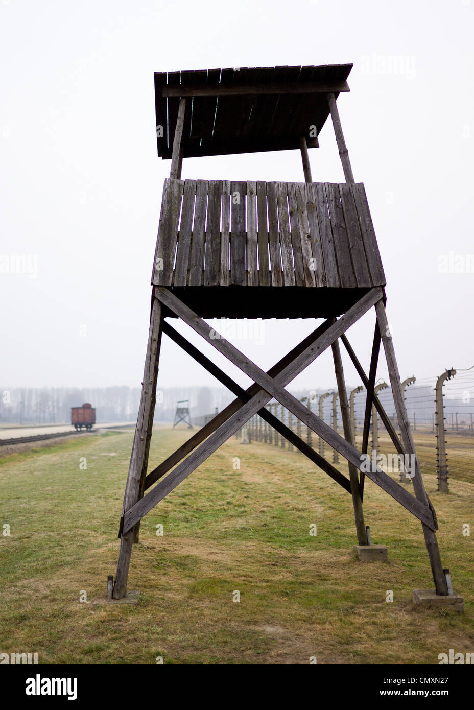 Auschwitz II, Birkenau guard tower, Poland - Stock Image