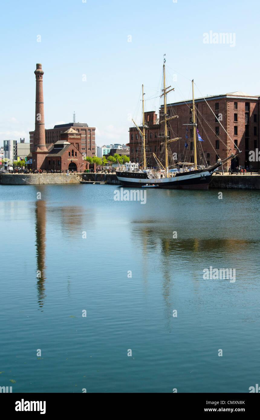 Canning Dock, alongside the Albert Dock Liverpool. - Stock Image