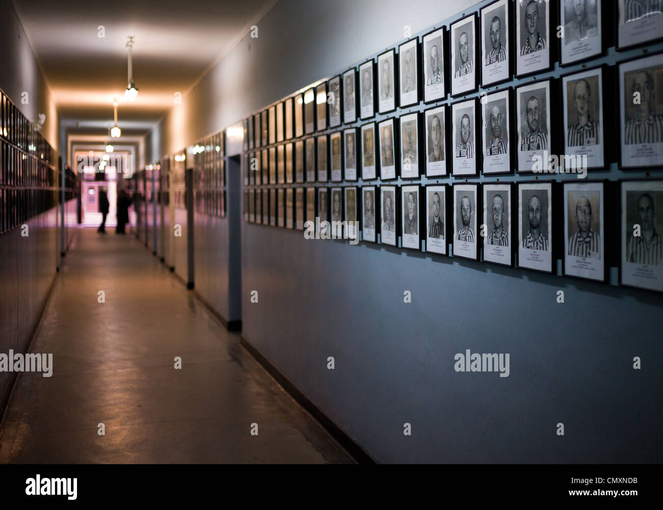 A wall containing photographs of prisoners who dies at Auschwitz concentration camp, Poland - Stock Image