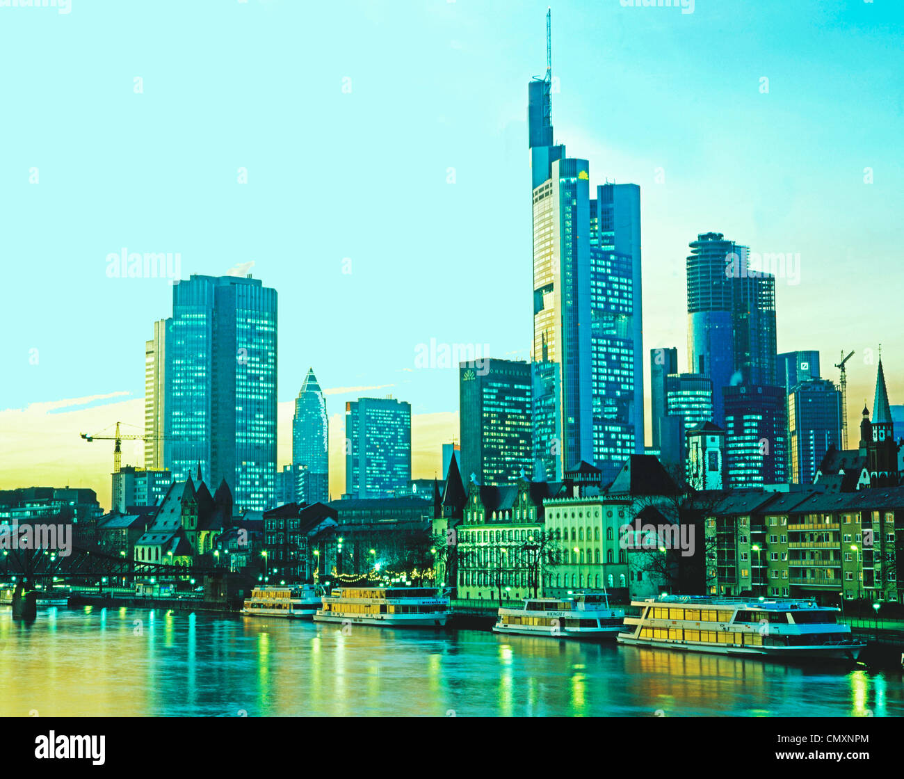 downtown, banking area, commerzbank - Stock Image