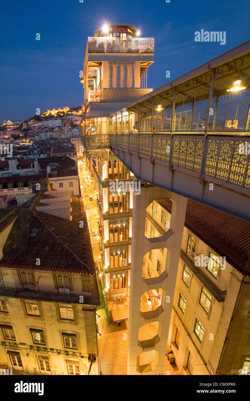Portugal, Lisbon, Portugal, Lisbon, Portugal, View from Elevator Santa Justa towords Castelo  Sao Jorge at twilight Stock Photo