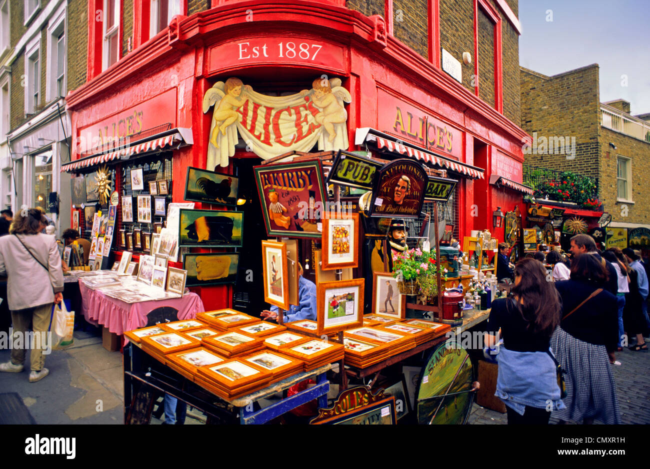 London, Notting Hill, antique shop, Alice - Stock Image
