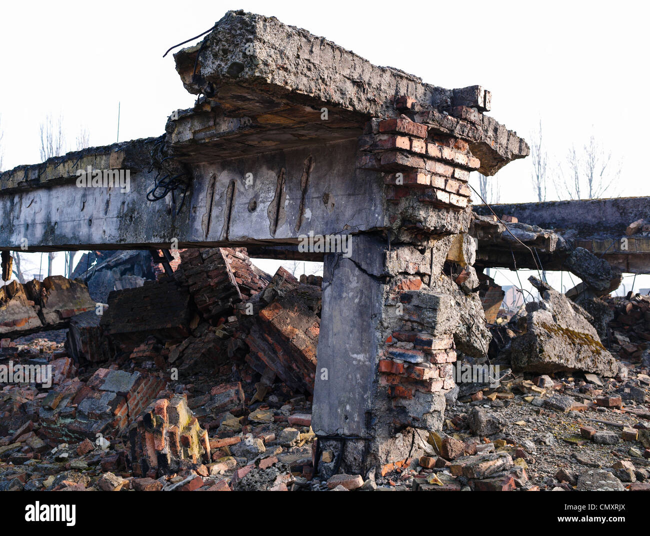The ruins of the Auschwitz II, Birkenau gas chamber, Poland - Stock Image