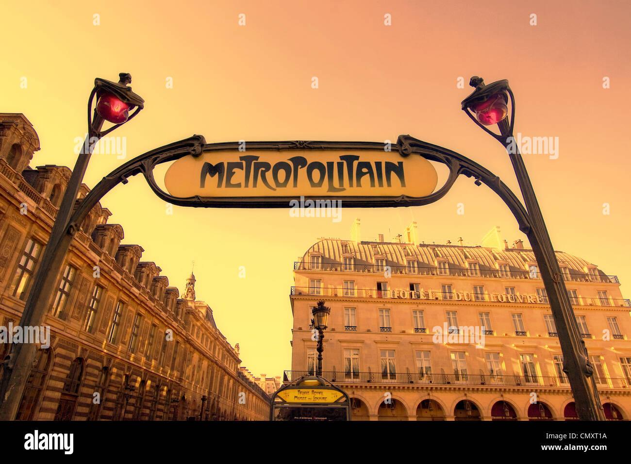 France Paris  Metro entrance  sign art nouveau - Stock Image