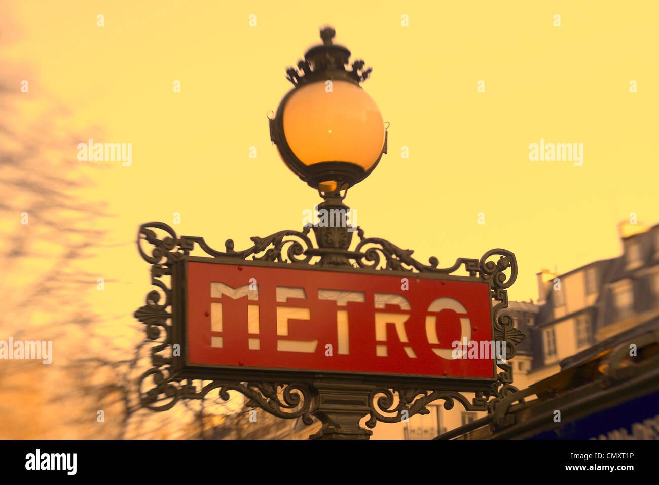 France Paris St German Metro sign art nouveau - Stock Image