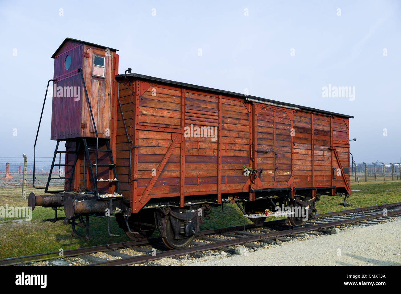 Prisoner transport carriage at Auschwitz II, Birkenau, Poland - Stock Image