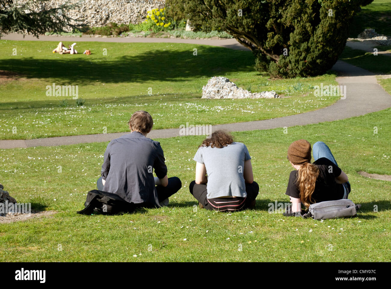 Three teenage boys sitting in the park, rear view, Abbey Gardens Bury St Edmunds Suffolk UK - Stock Image