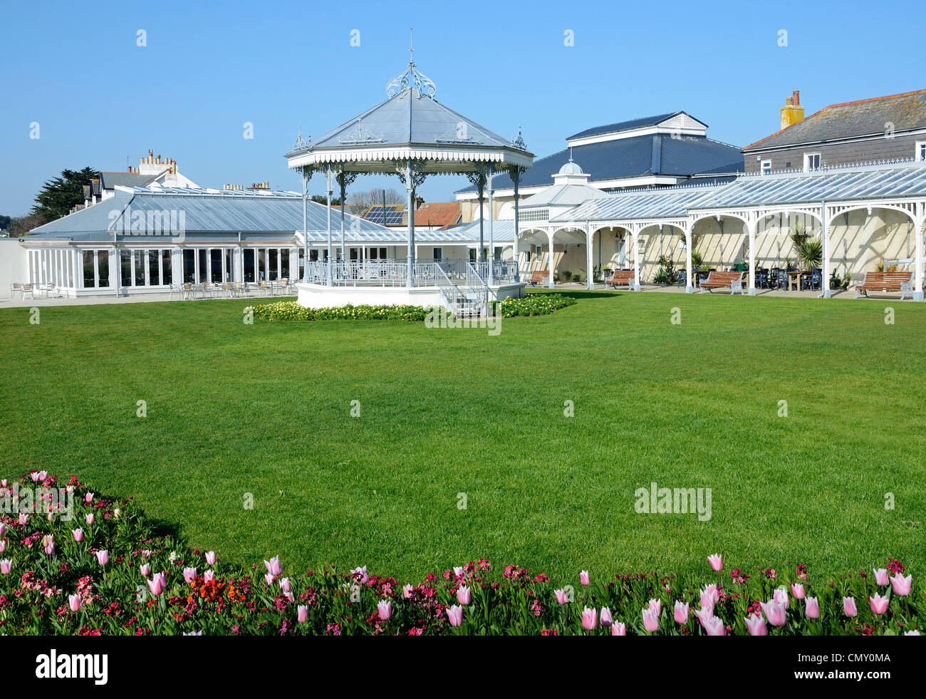 The Victorian bandstand at Princess Pavilion in Falmouth, Cornwall, UK - Stock Image