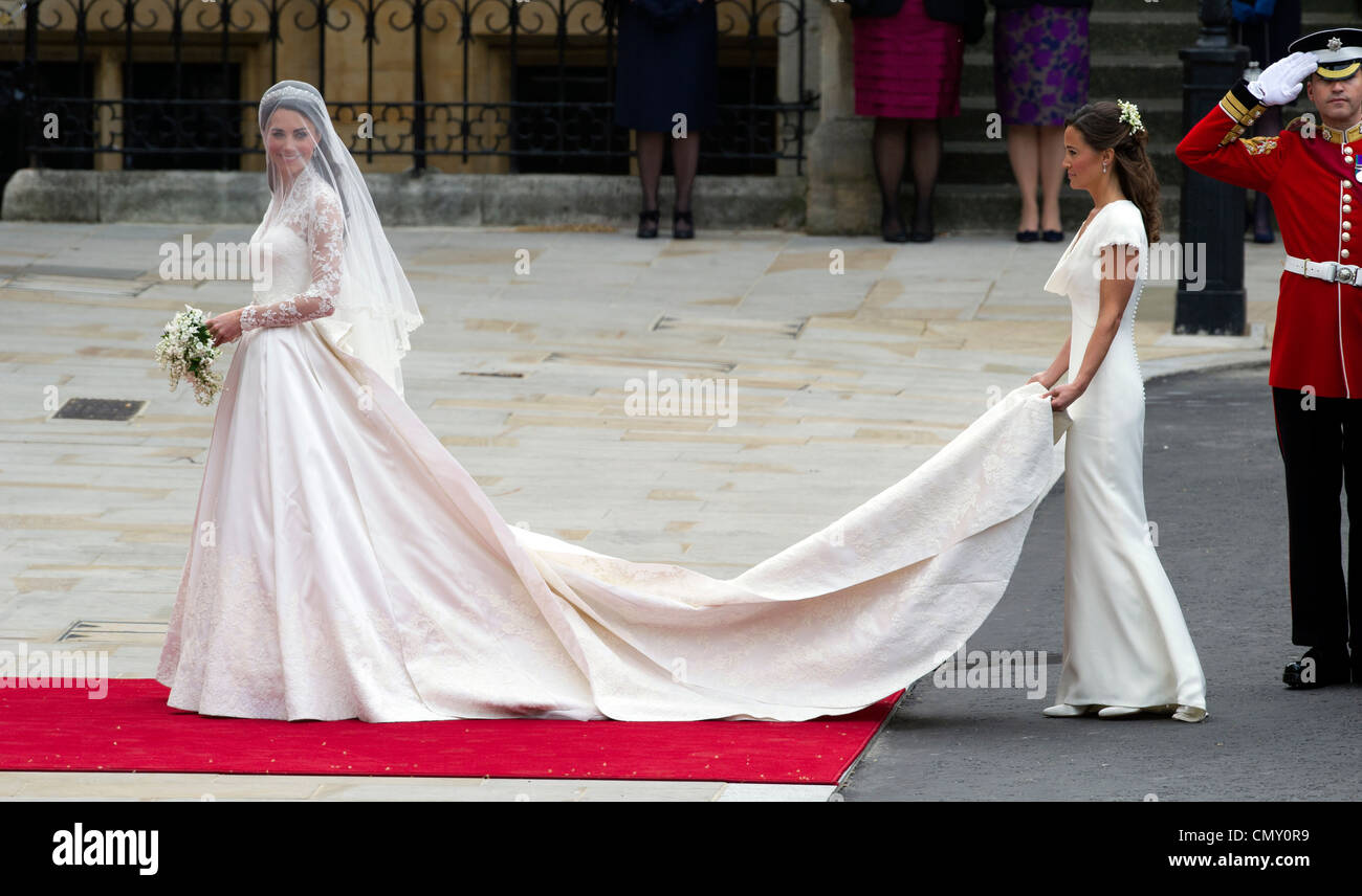 Kate Middleton at Westminster Abbey for her marriage to HRH The Prince William.  Kate is seen with her bridesmaid - Stock Image
