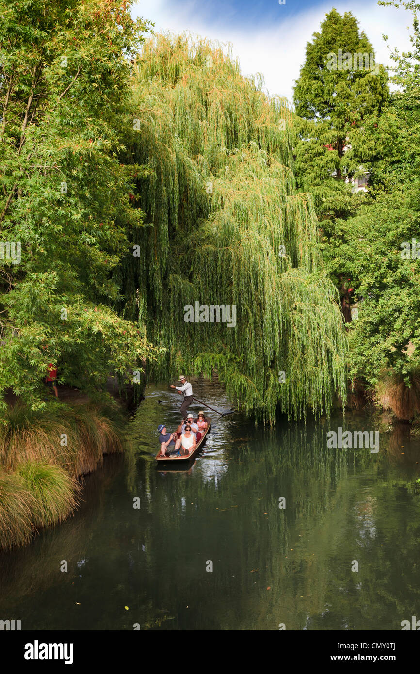 Christchurch New Zealand punting on the Avon River. - Stock Image