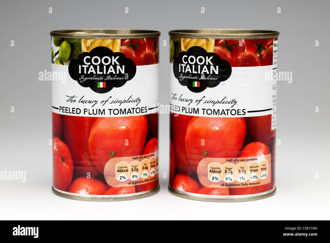 Two tins of Cook Italian Peeled Plum Tomatoes - Stock Image