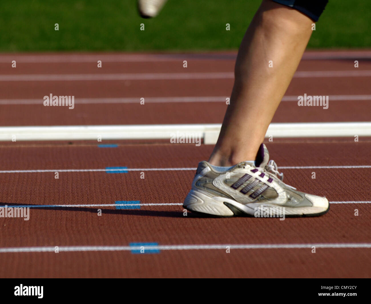 on the athletics track - Stock Image