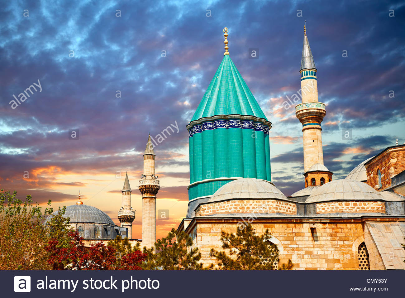 Dome of the Mevlâna museum, the mausoleum of Jalal ad-Din Muhammad Rumi, Konya Turkey - Stock Image
