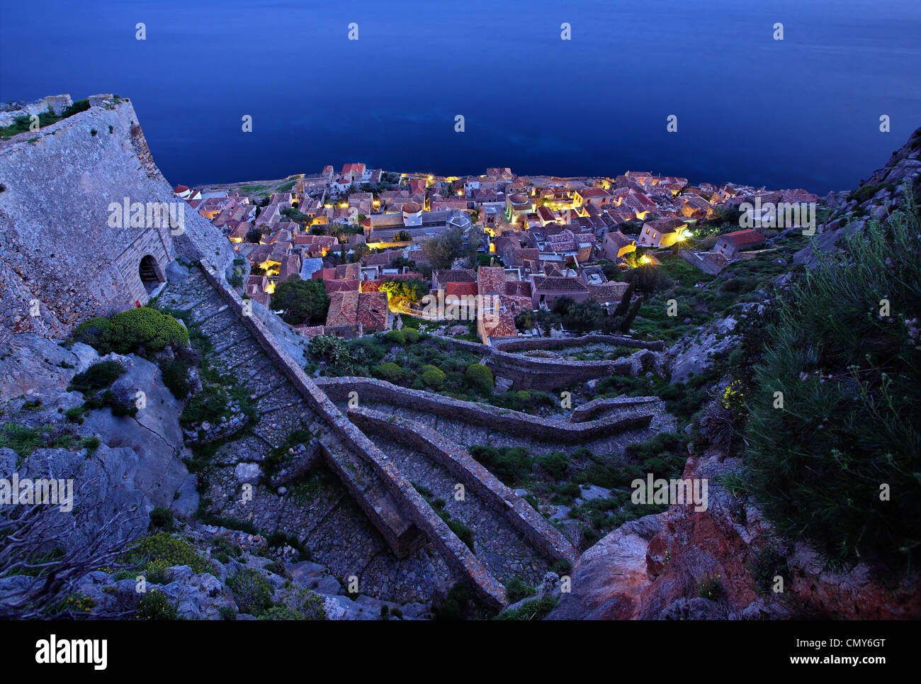 Night view of the 'Lower Castle' of the 'castletown' of Monemvasia. Photo taken from the 'Upper - Stock Image
