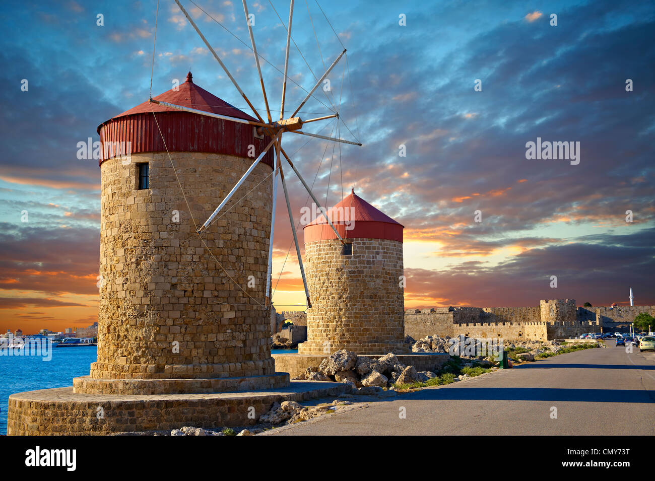 Windmills and walls of Rhodes, Greece. UNESCO World Heritage Site - Stock Image