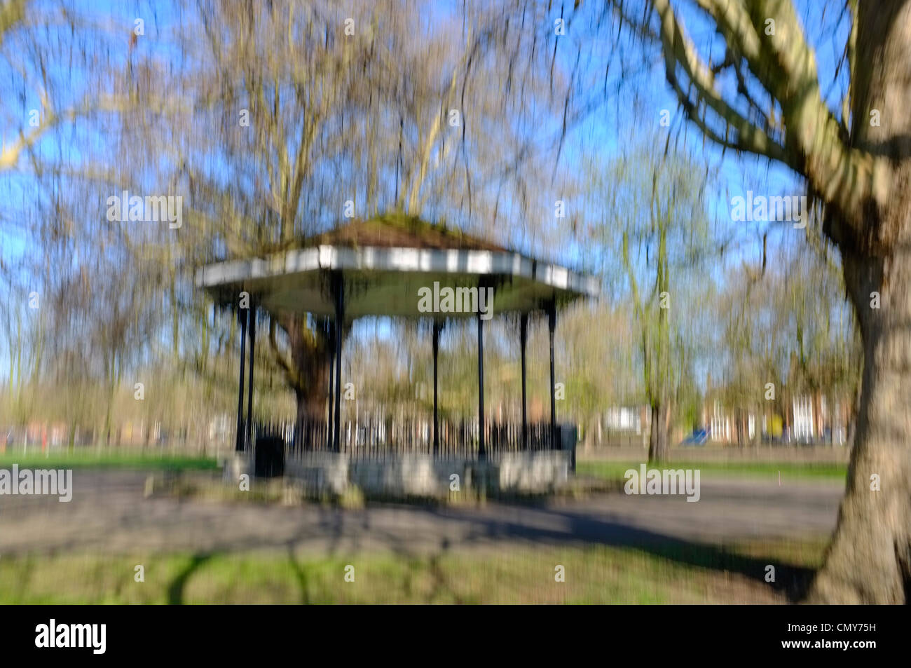 Bandstand in park , impressionistic - Stock Image