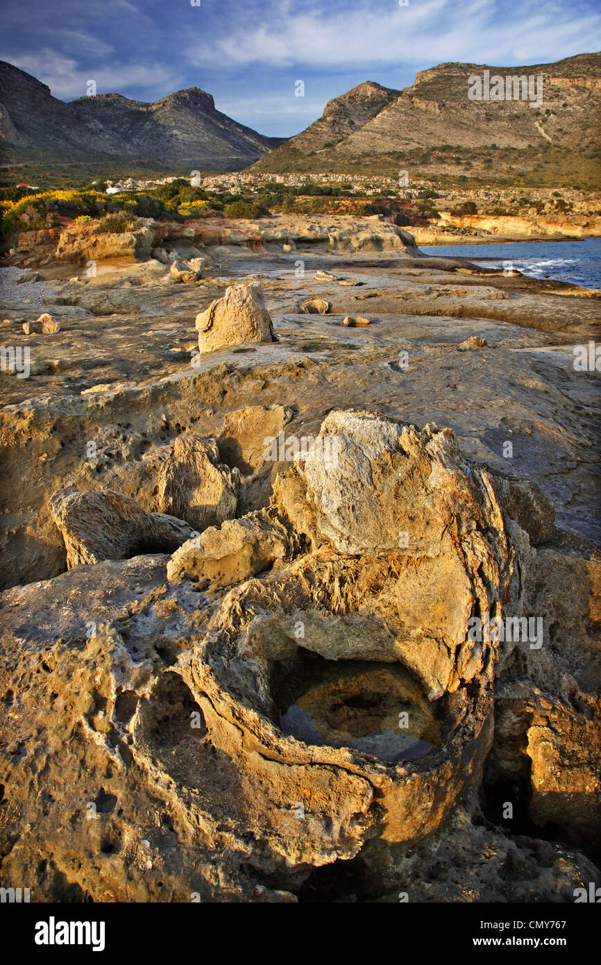 The petrified forest of Cavomalias (Cape Maleas), close to Neapolis town, Vatika, Lakonia, Peloponnese, Greece - Stock Image