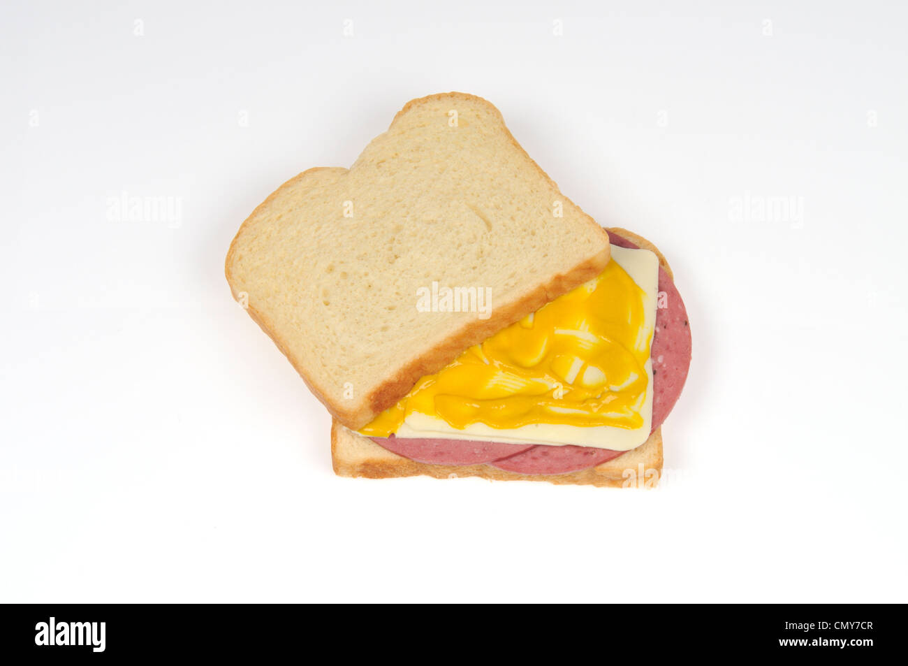 Salami and cheeses sandwich with mustard - Stock Image