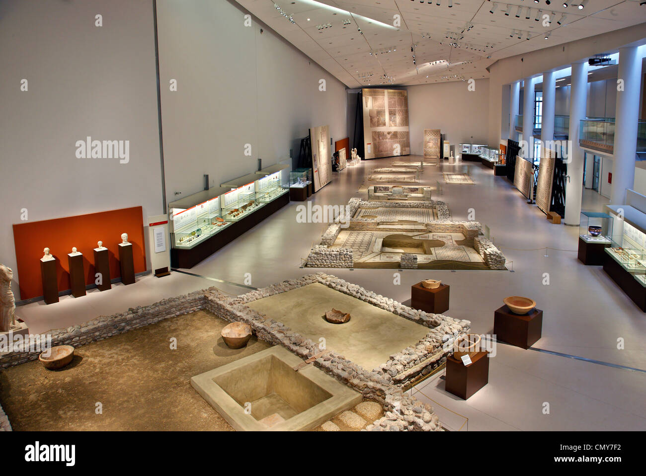 Partal view of the 'Private Life', thematic section of the new Archaeological museum of Patras, Achaia, - Stock Image
