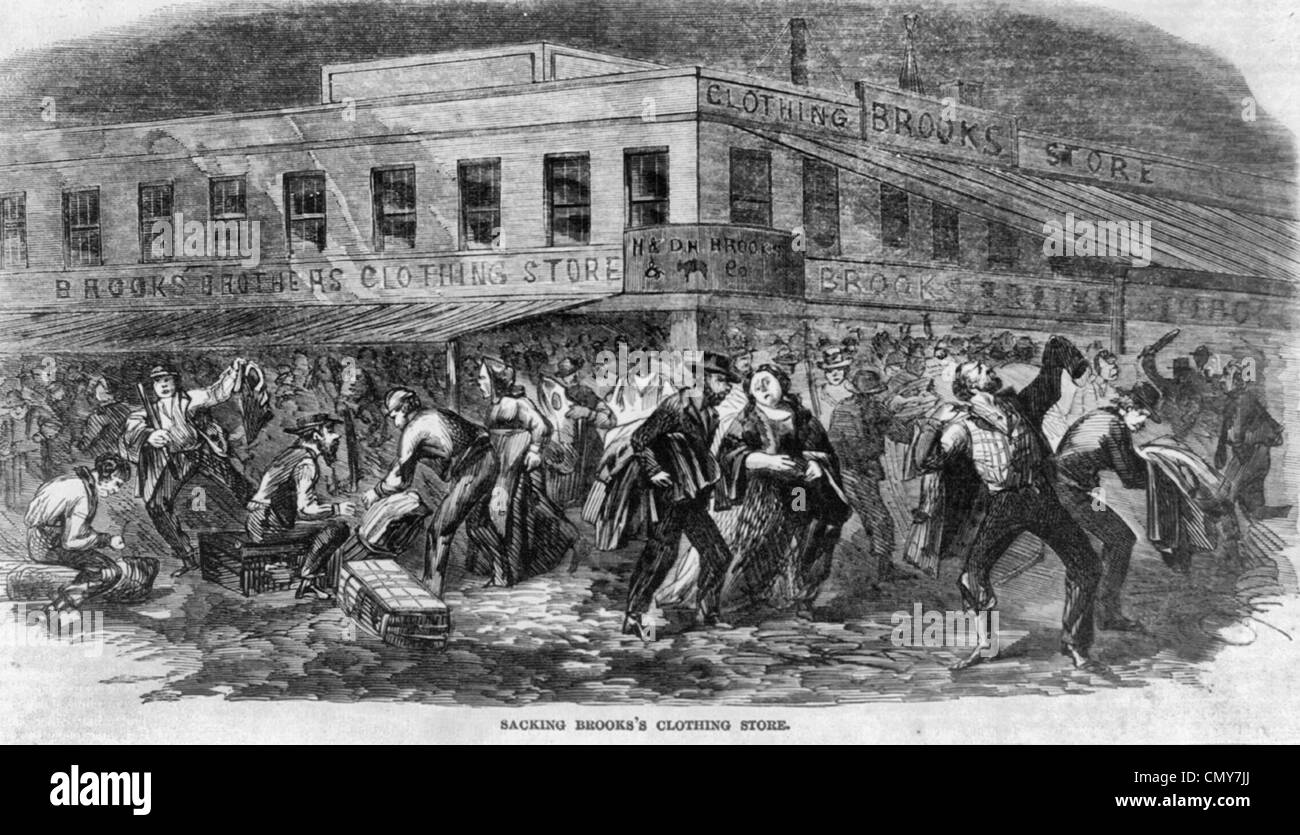 Riots at New York City, Sacking Brooks's Clothing Store, 1863 draft riots Stock Photo