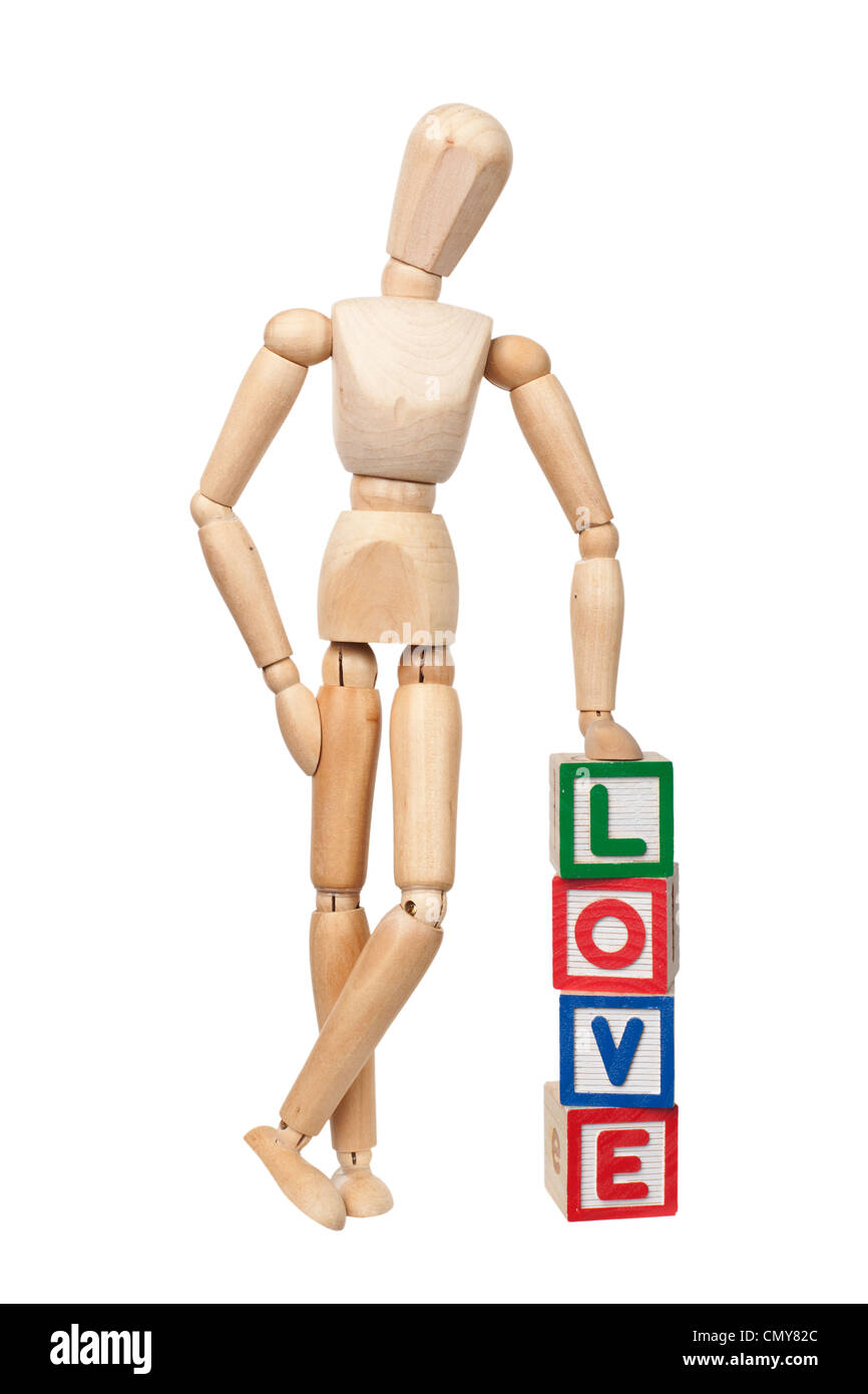 Wooden figurine with the word LOVE isolated on white background - Stock Image
