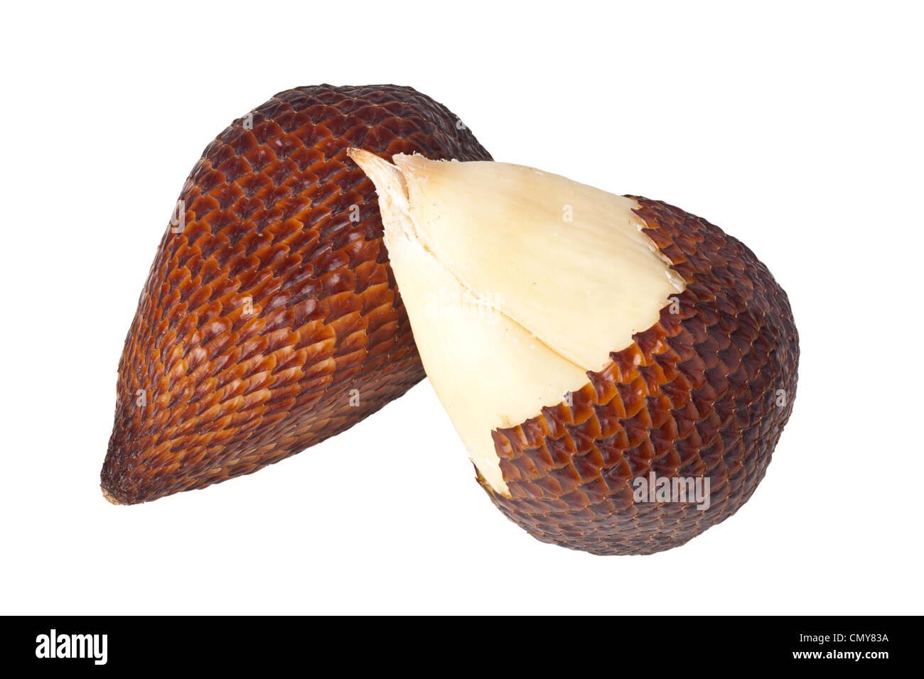Whole and peeled salak fruits isolated on white background - Stock Image