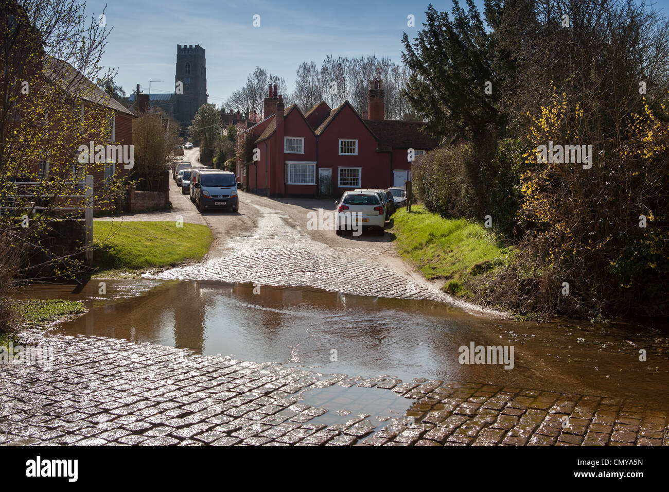 Kersey ford, river running through famous village in Babergh, Suffolk - Stock Image
