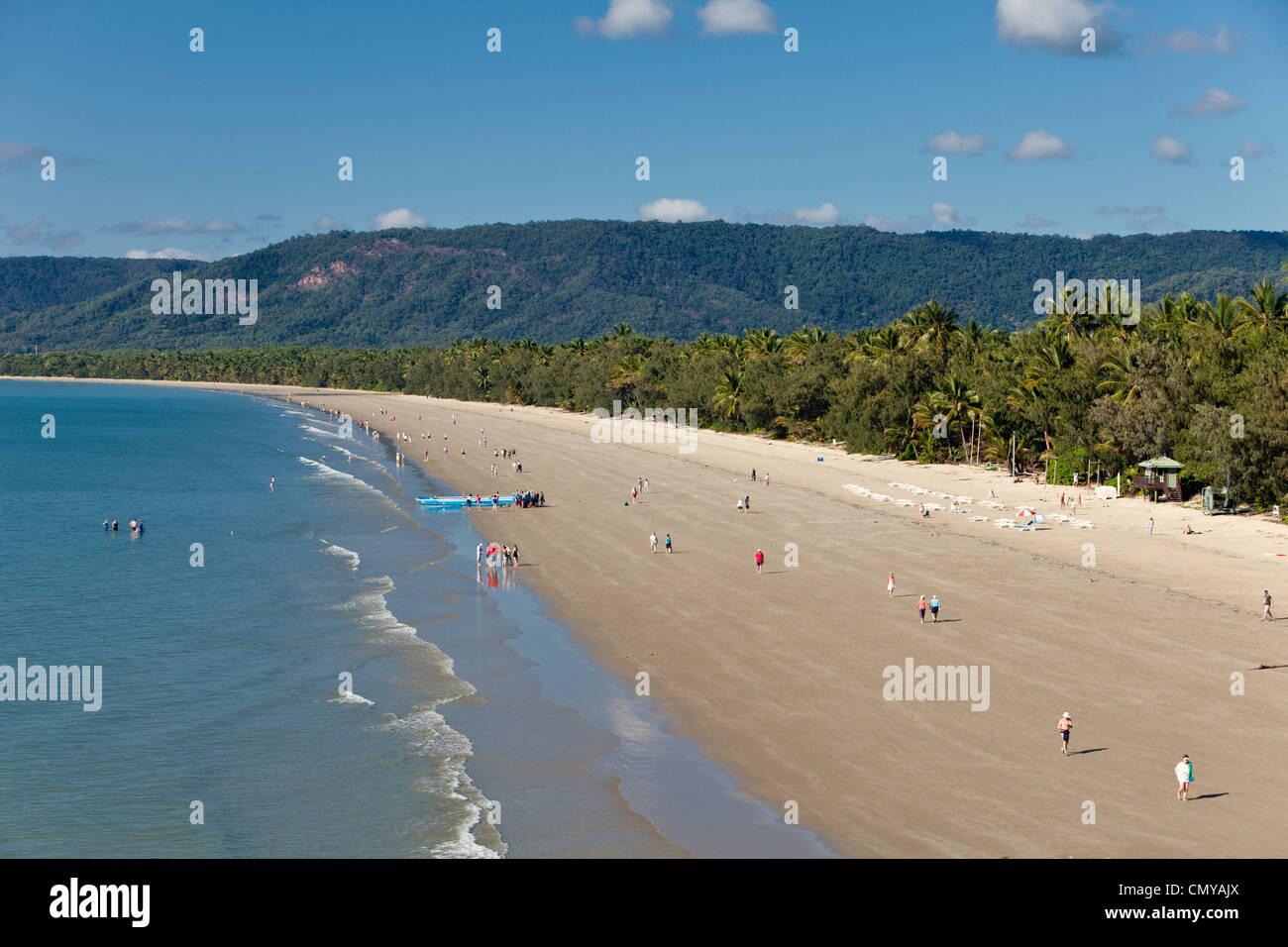 View along Four Mile Beach. Port Douglas, Queensland, Australia - Stock Image