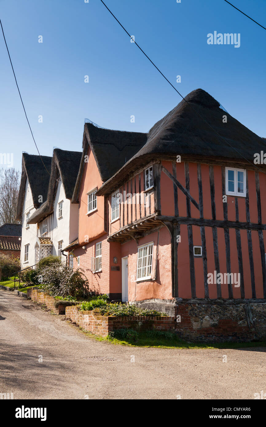 Tudor thatched cottage in Kersey, Suffolk, UK - Stock Image