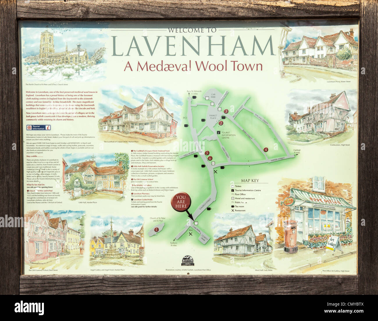 Lavenham tourist information sign and map, Lavenham, Suffolk - Stock Image