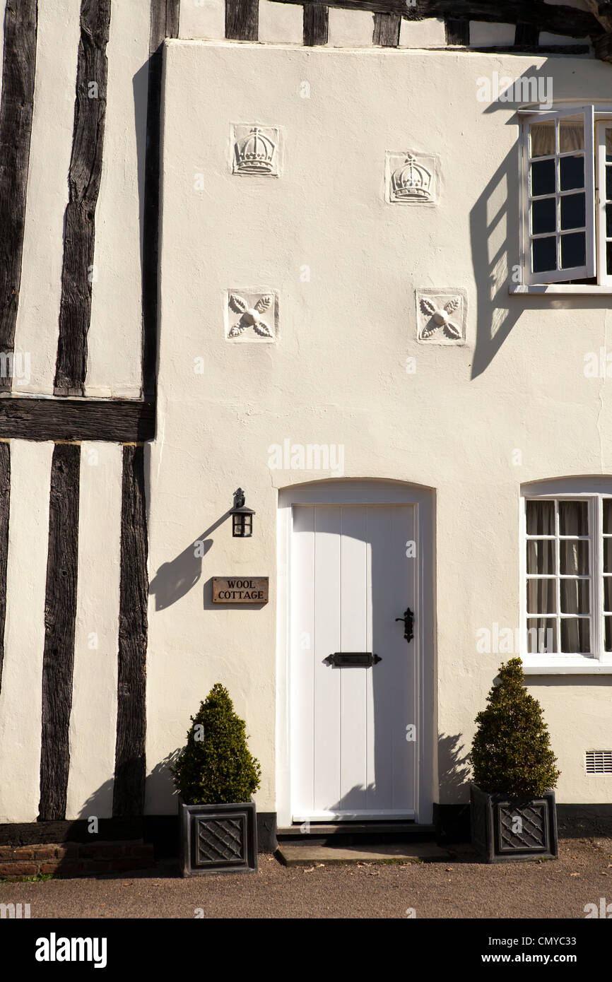 Wool Cottage, situated on the end of Blaize House. Medieval houses in Lavenham, Suffolk - Stock Image