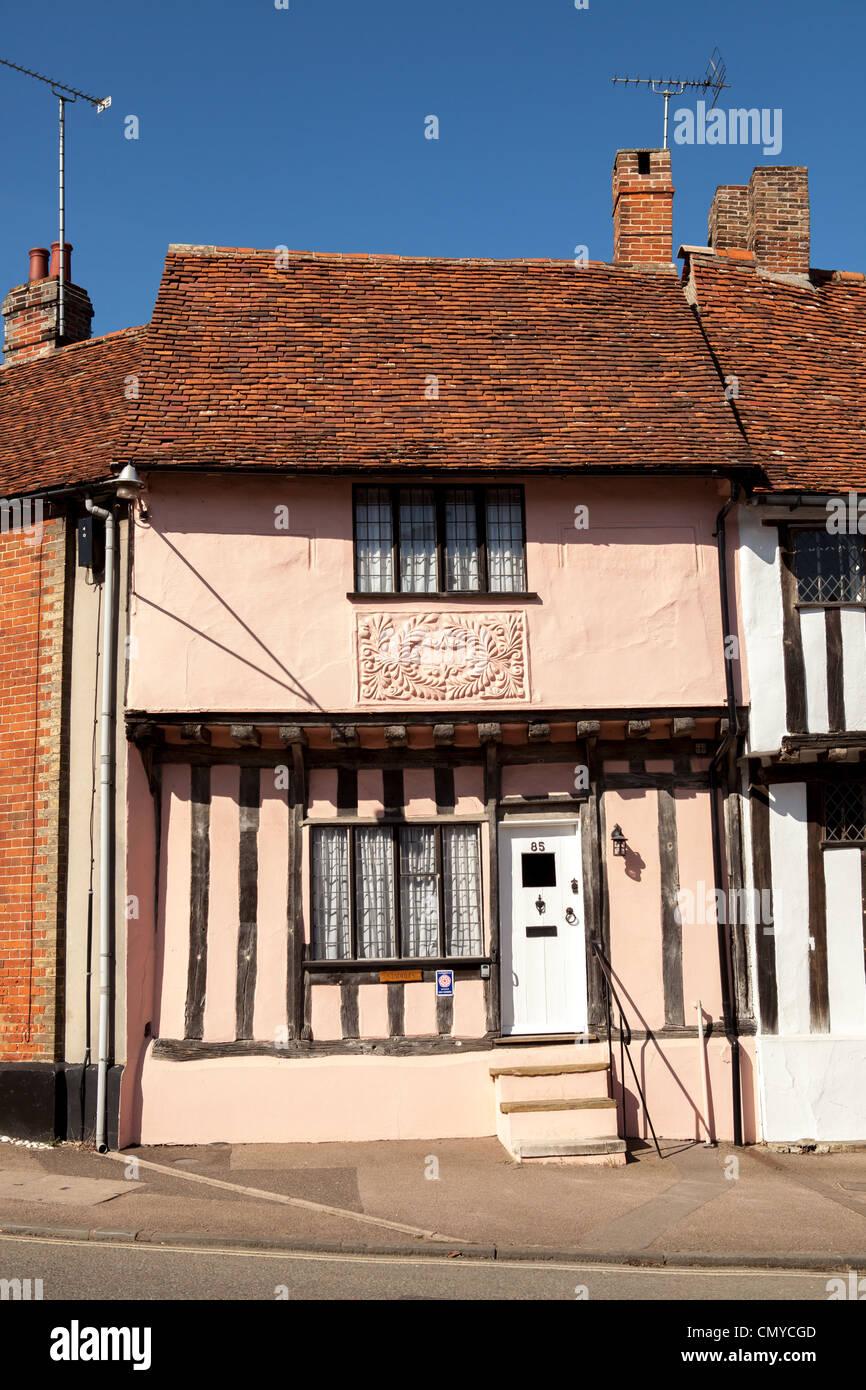 Medieval tudor house with decorative plasterwork, Lavenham, Suffolk - Stock Image