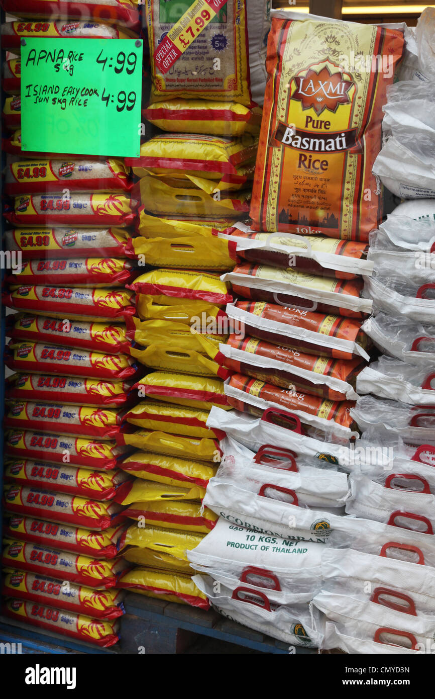 Rice at a Cash and Carry style shop in Harlesden, London - Stock Image