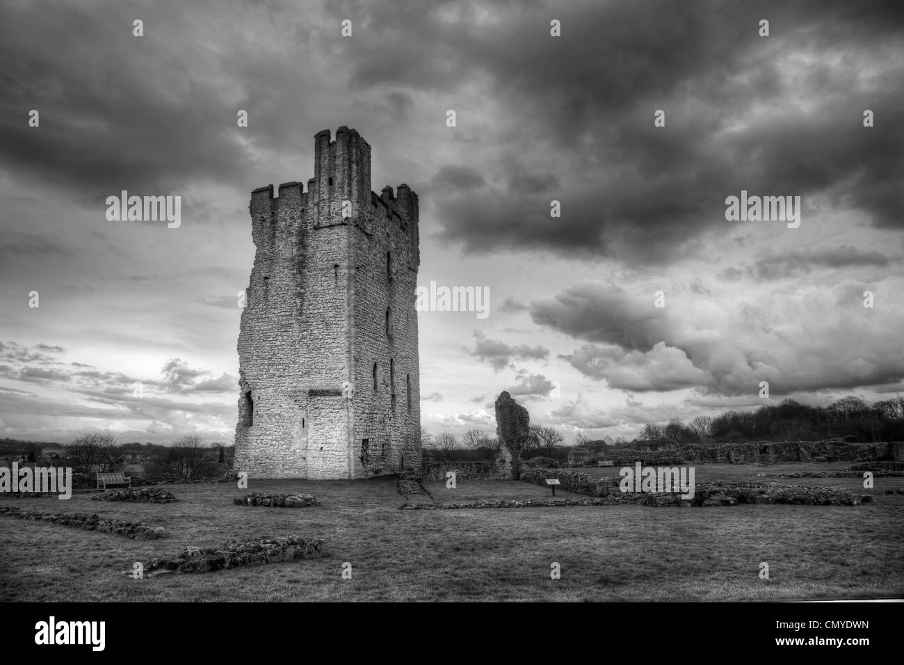 Black and white hdr image of helmsley castle north yorkshire stock