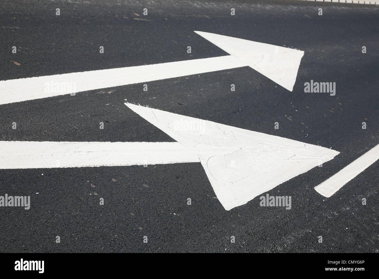 new road markings - Stock Image
