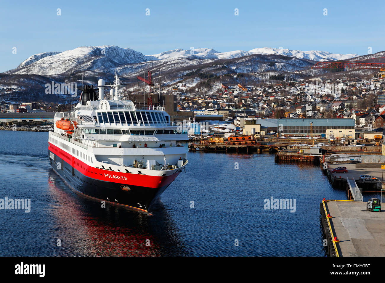 Norway, County of Troms, Harstad, stopover, Polarlys boat, shipping company Hurtigruten which assures since 1893 - Stock Image