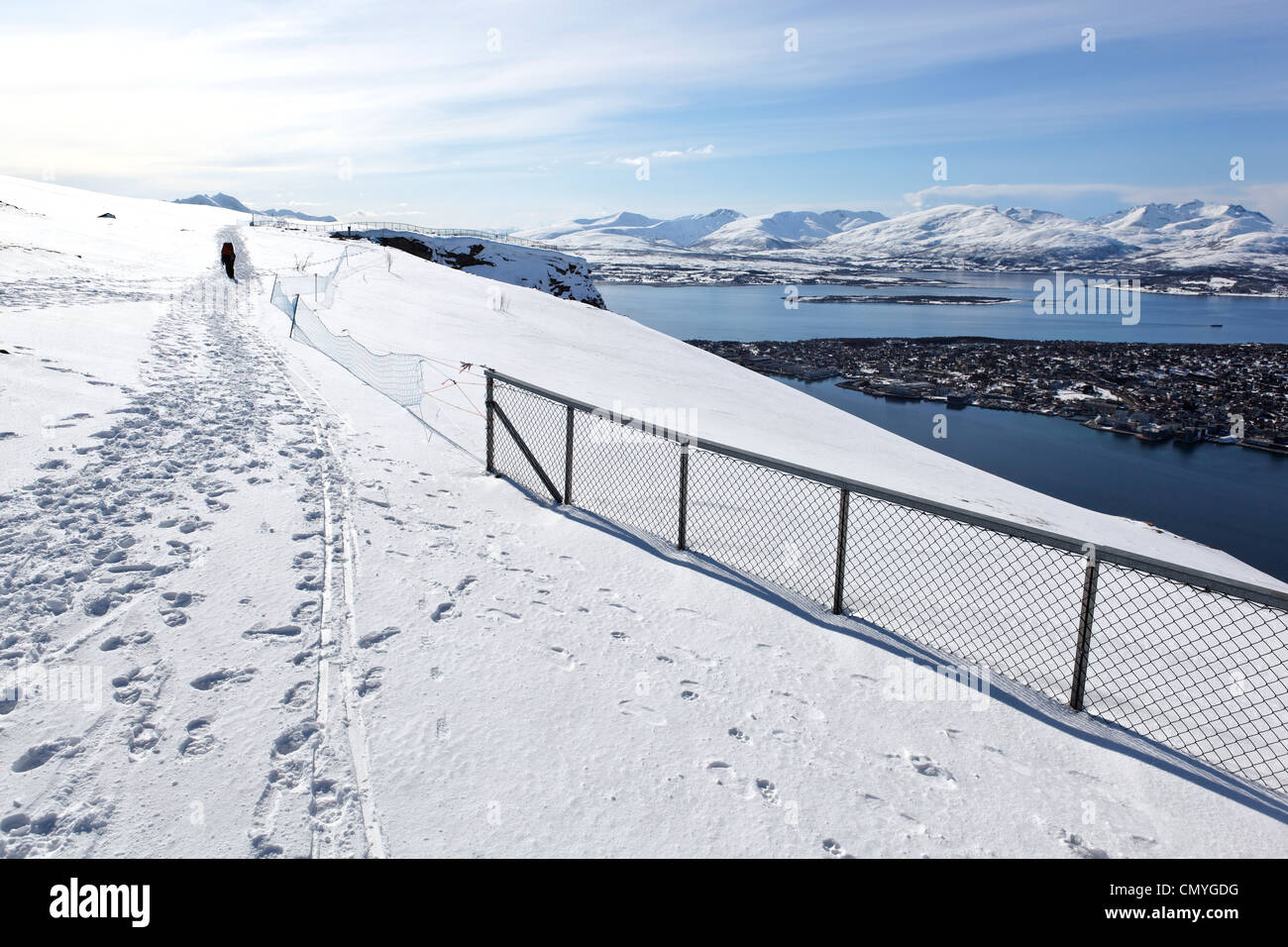 Norway, County of Troms, Tromso, paraglider Stock Photo