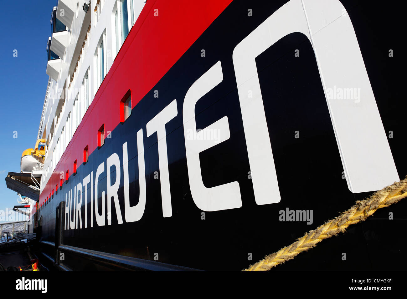 Norway, County of Troms, Tromso, stopover of Trollfjord boat, shipping company Hurtigruten which assures since 1893 - Stock Image